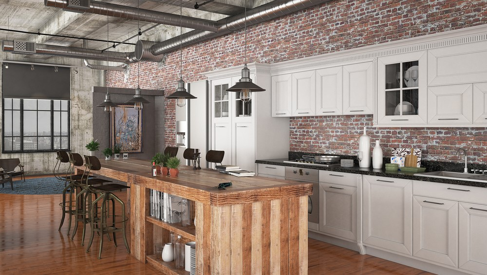 Cozinha no estilo industrial de decoração