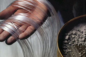 Fibra ótica usada em concreto translúcido