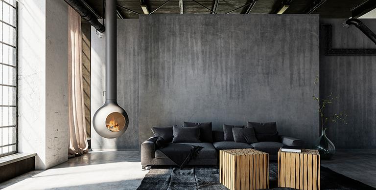 sala-decorada-parede-concreto-aparente