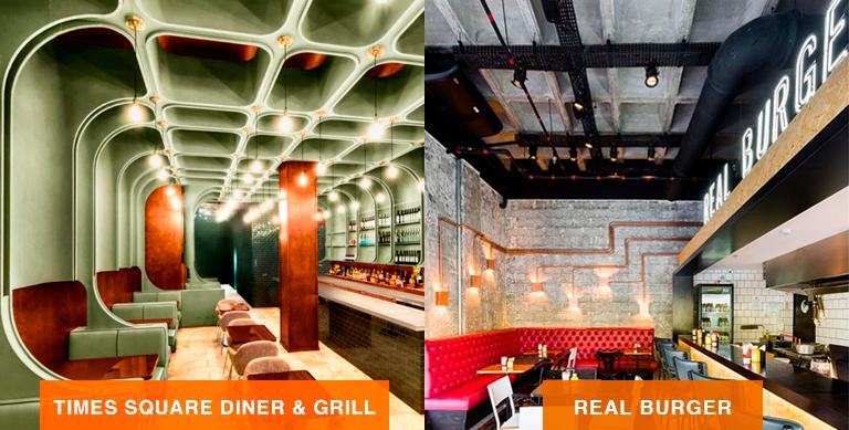 comparativo mostrando o ambiente clássico da Times Square Diner & Grill e moderno do Real Burger